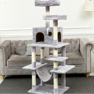 "63.8""Multi-Level Cat Tree with Sisal-Covered Scratcher Slope, Scratching Posts, Plush Perches and Condo"