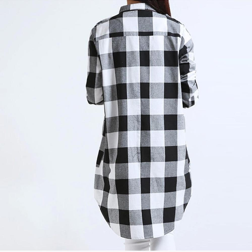 Womens Long Checkered Shirt with Pockets