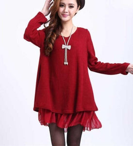 Womens Red Layered Tunic Sweater Dress with Frill Trim