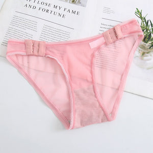 Women Sexy Panties Lace Female Briefs Pantys Underwear Adjustable Ladies Low-Rise Intimates Solid Color Comfort Mesh Pant