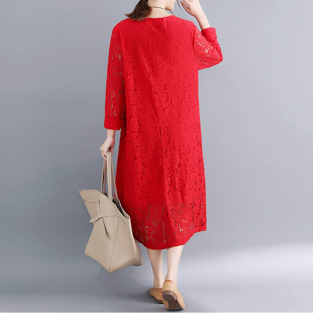 Womens Long Sleeve Lace Dress with Pockets