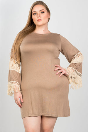 Ladies fashion plus size crochet mini dress