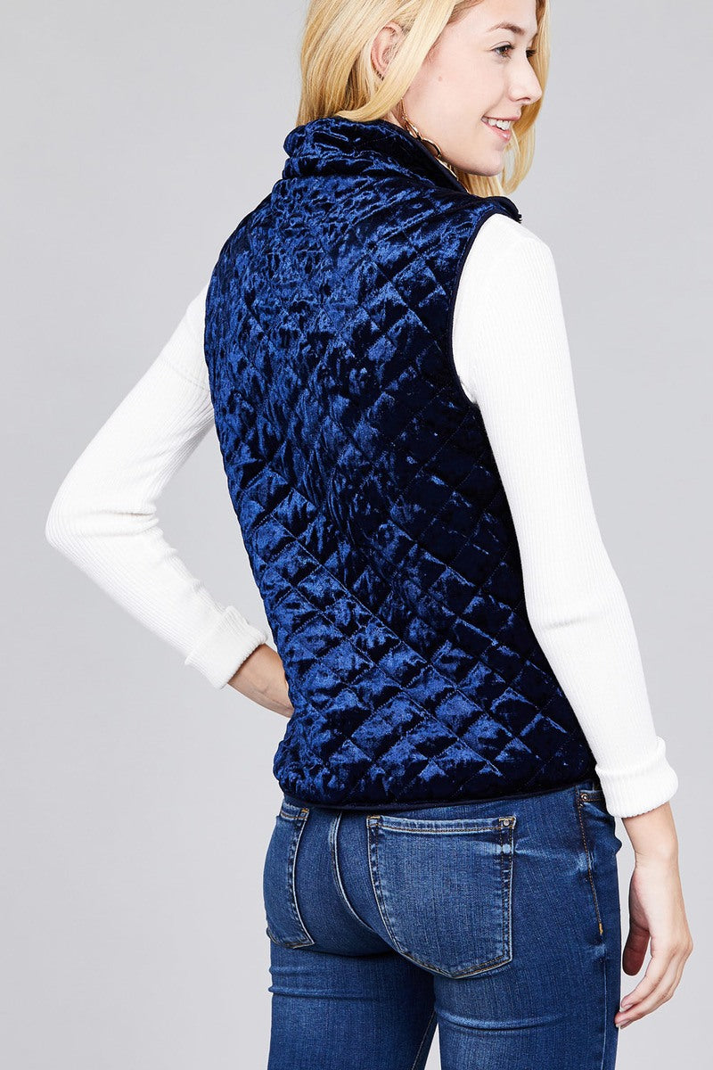 Quilted Padding W/suede Piping Detail Velvet Vest