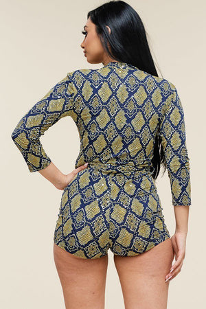 Multi Color Snake Print 3/4 Sleeve Romper