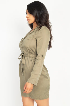 Rtn Bttn Belted Shirts Dress
