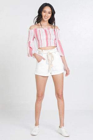 Striped Off-the-shoulder Gauze Crop Top