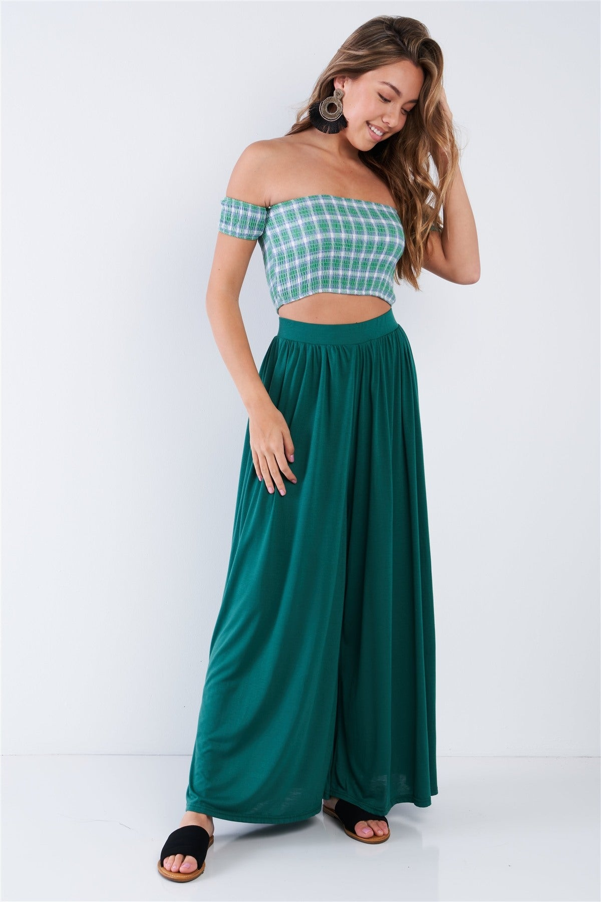 Green Checkered Cotton Chic Off-the-shoulder Crop Top