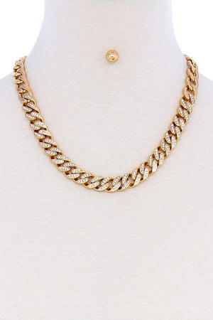Trendy Multi Rhinestone Accent Thick Chain Necklace And Earring Set