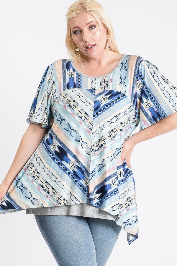 Short Sleeve Aztec Patterned Layered Top