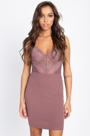 Sheer Crochet Lace Mini Dress