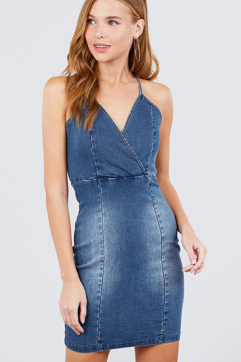 Plunging V-neck Cami W/back Cross Strap Mini Denim Dress