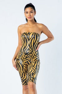 Zebra Print Tube Romper With Front O Ring Zipper Detail