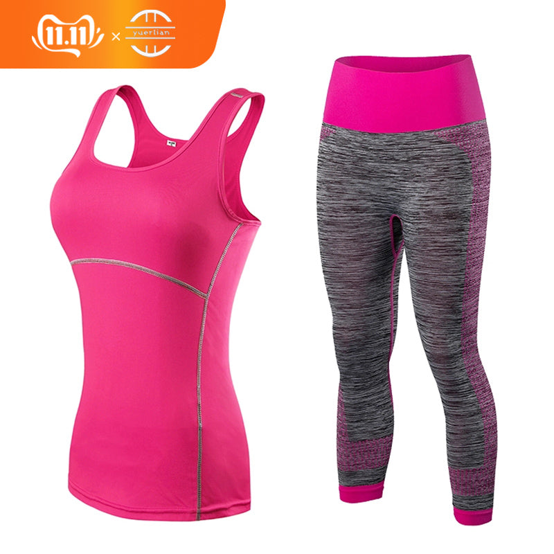 Yuerlian Hot Quick Dry sportswear Gym Leggings Female Fitness Tights Sport Suit Top Yoga Set Women Tracksuit