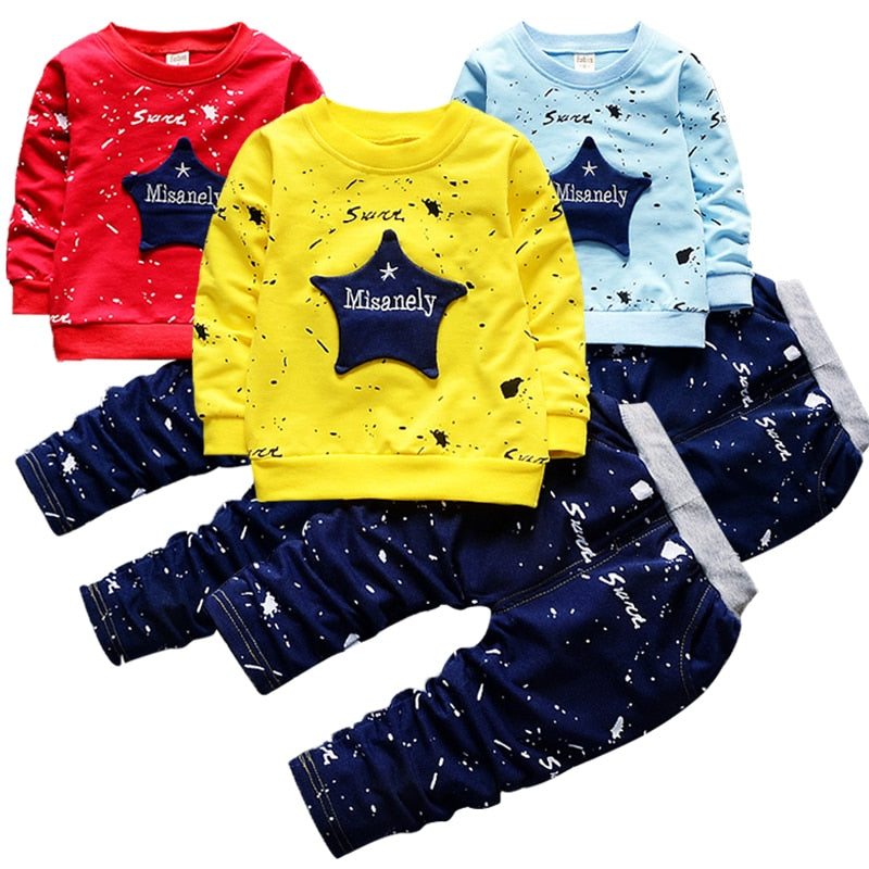 New Boys Clothing Sets Spring Autumn Baby Kids Sets Cotton Star Boy Tracksuits Kids Suits Long Sleeve T Shirt+Pants Free shipp