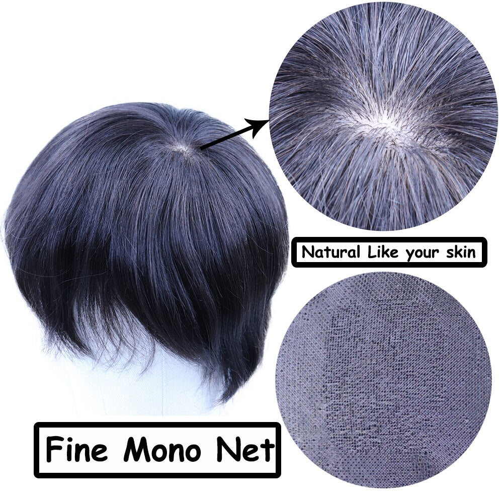 YY Wigs Natural Black Men's  Human Hair Replacement System 4x4 - 8x10 Human Hair Toupee for Men