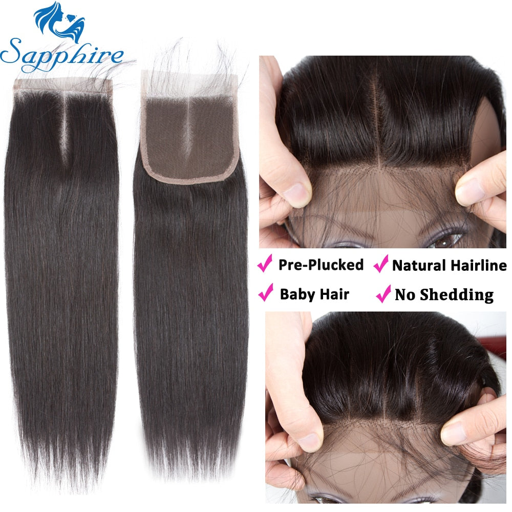 Sapphire Straight Bundles With Closure Brazilian Hair Weave Bundles With Closure Human Hair Bundles
