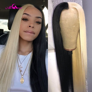 ALI Coco 150% Green Human Hair Wig Brazilian Remy Straight Yellow Lace Front Wig Pink Red Light Bule Purple Ombre Wigs For Women