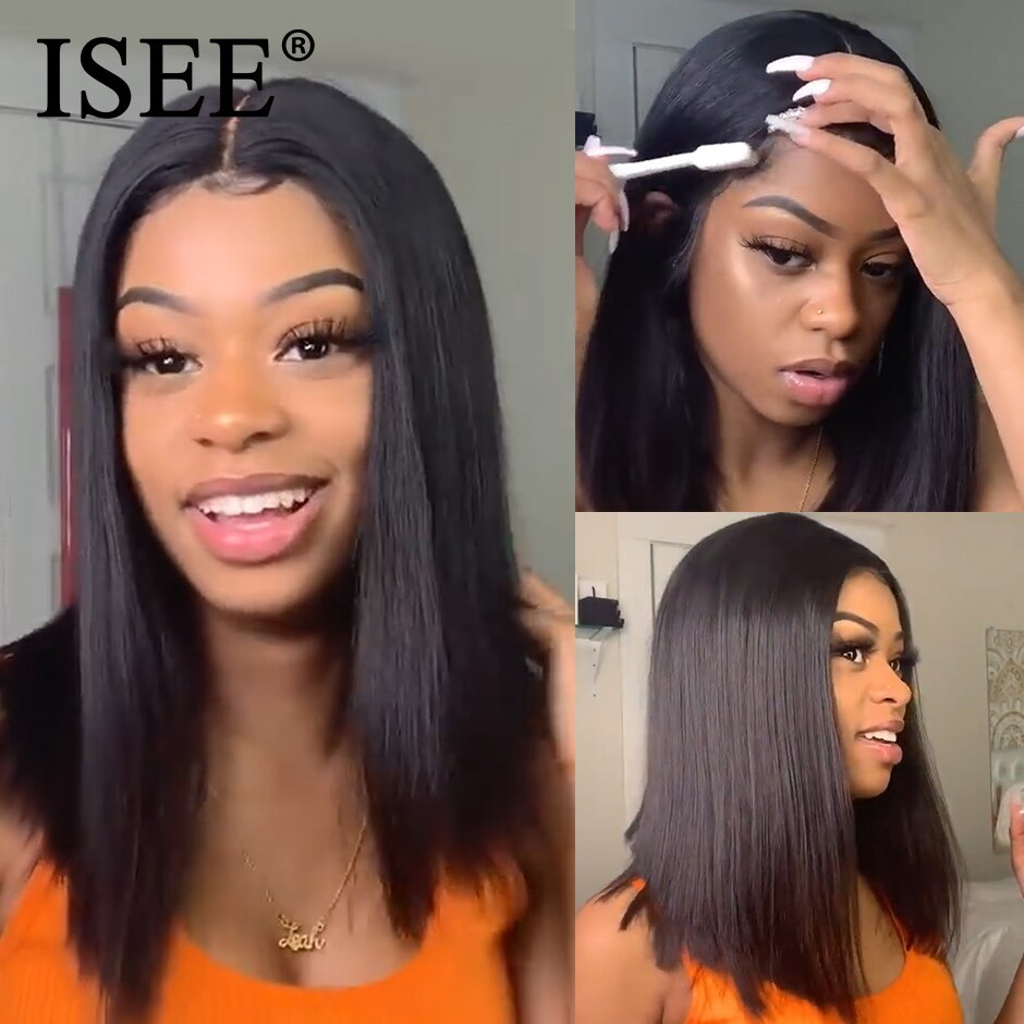Straight Short Human Hair Wigs 360 Lace Frontal Wig Straight Bob Lace Front Wigs ISEE HAIR