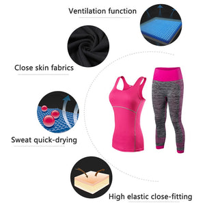 Female Fitness Tights Sport Suit Top Yoga Set Women Tracksuit