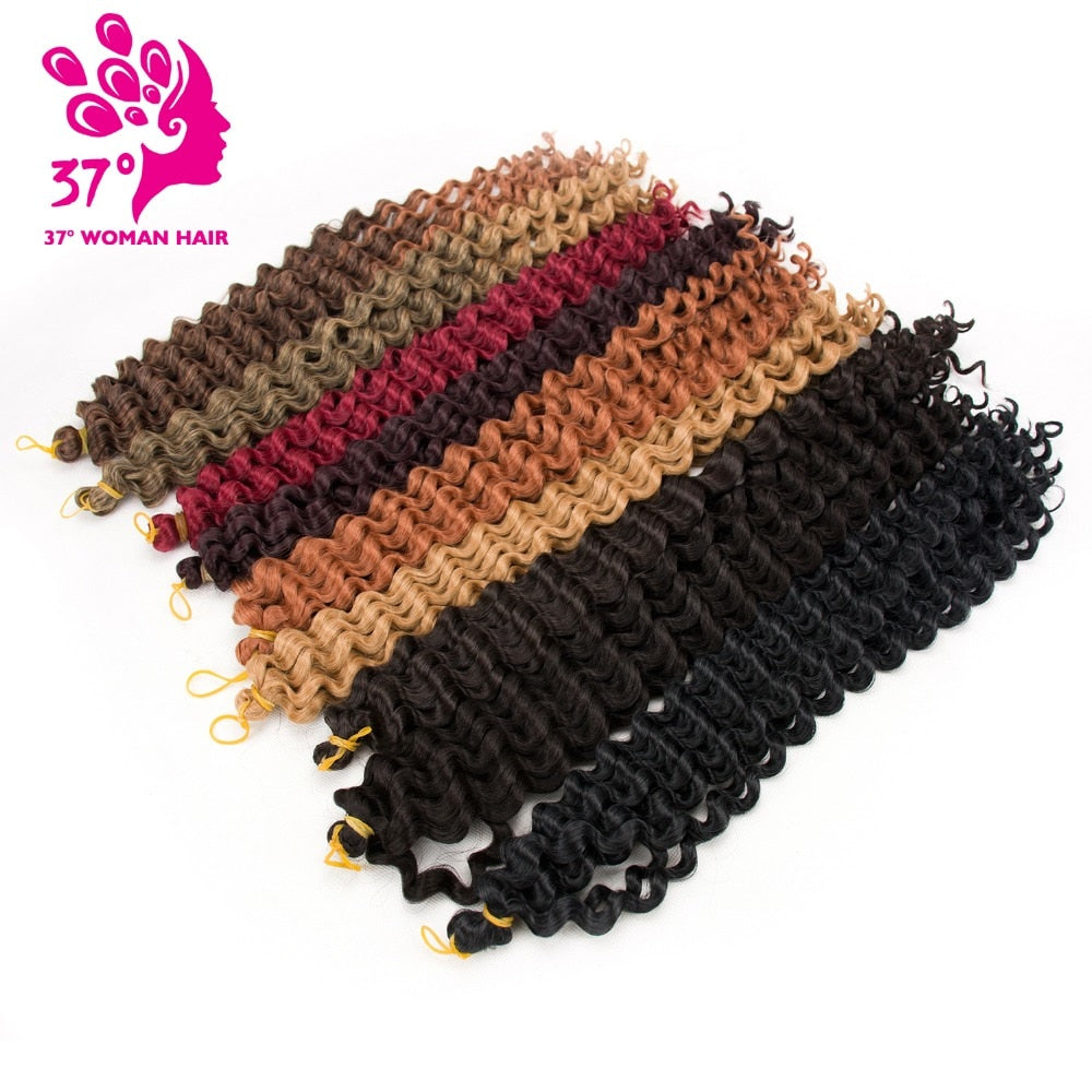 Dream ice's 5pcs Deep Wave Pre-loop Synthetic Crochet Braid Hair Twists Braiding Hair Extension 20inch 80G