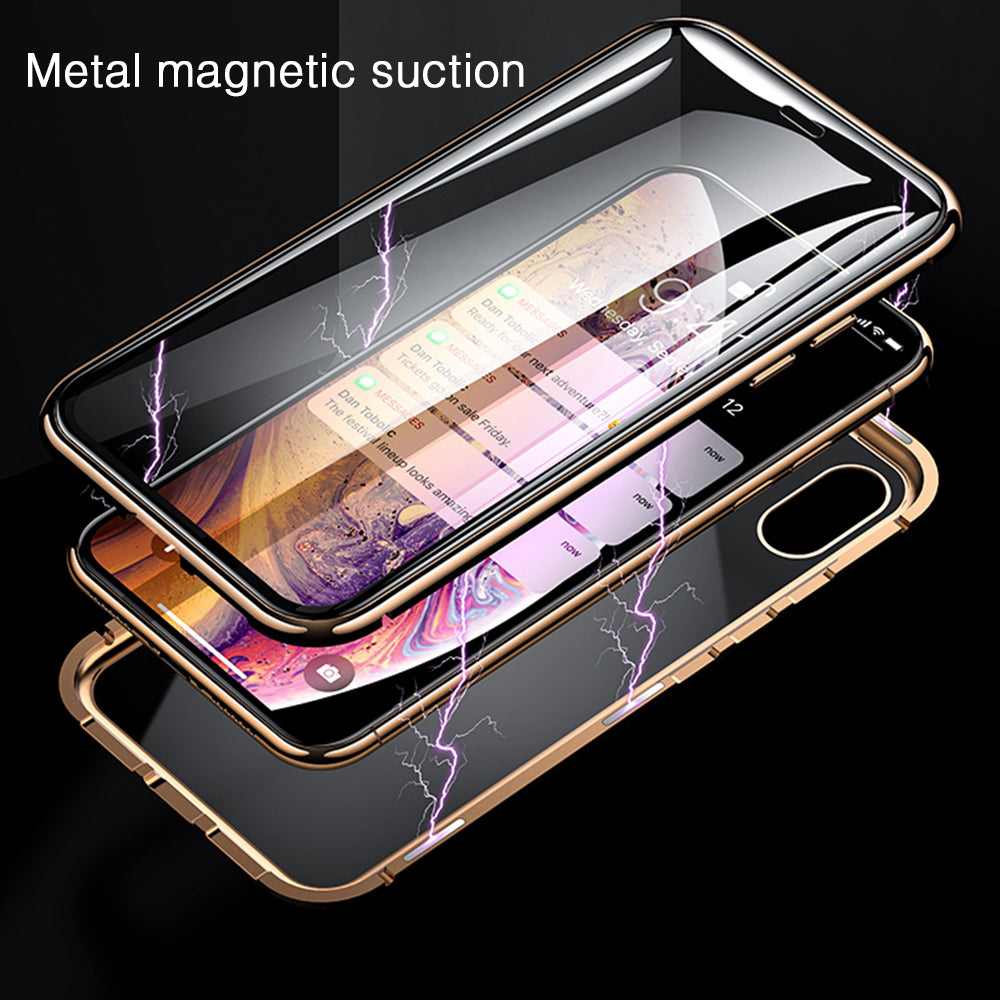 Eqvvol Metal Magnetic Adsorption Case For iPhone XS MAX X XR 8 7 Plus 6 6s Case Double Sided Glass Magnet Case Cover 7Plus Funda