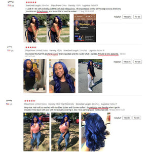 SHD Dark Blue Lace Front Wigs with Pre Plucked Hairline Brazilian Remy Hair Body Wave Lace Front