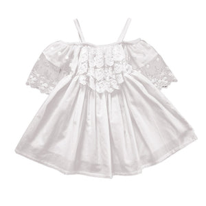 Baby Girls Polyester Above Knee Casual Lace Regular Short Sleeve Solid O-neck Mini Dresses