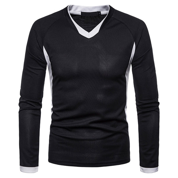 Men Full Sleeve Cotton Casual Tees with Henry Collar Regular Tops