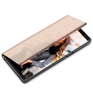Plating Smart Leather Flip Stand Clear Case Vintage Adsorption Plain Fitted Case For Samsung Phones