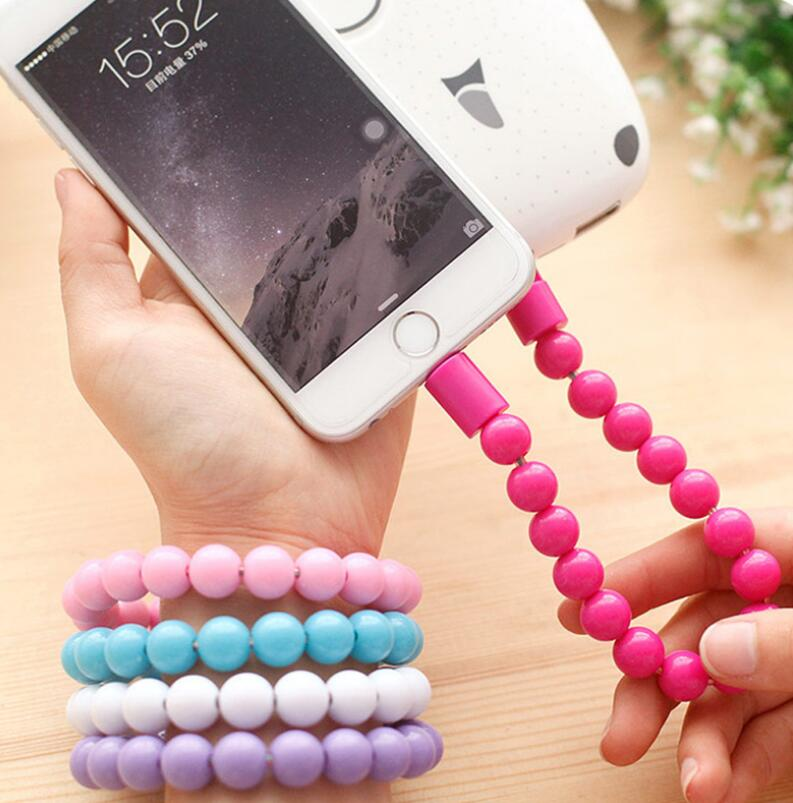 Wearable USB recharging Bracelet Beads recharging Cable flexible USB Phone charging
