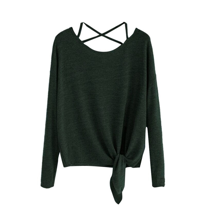 Women Daily Casual Long Sleeve Waist Tied Fashion Crop Top