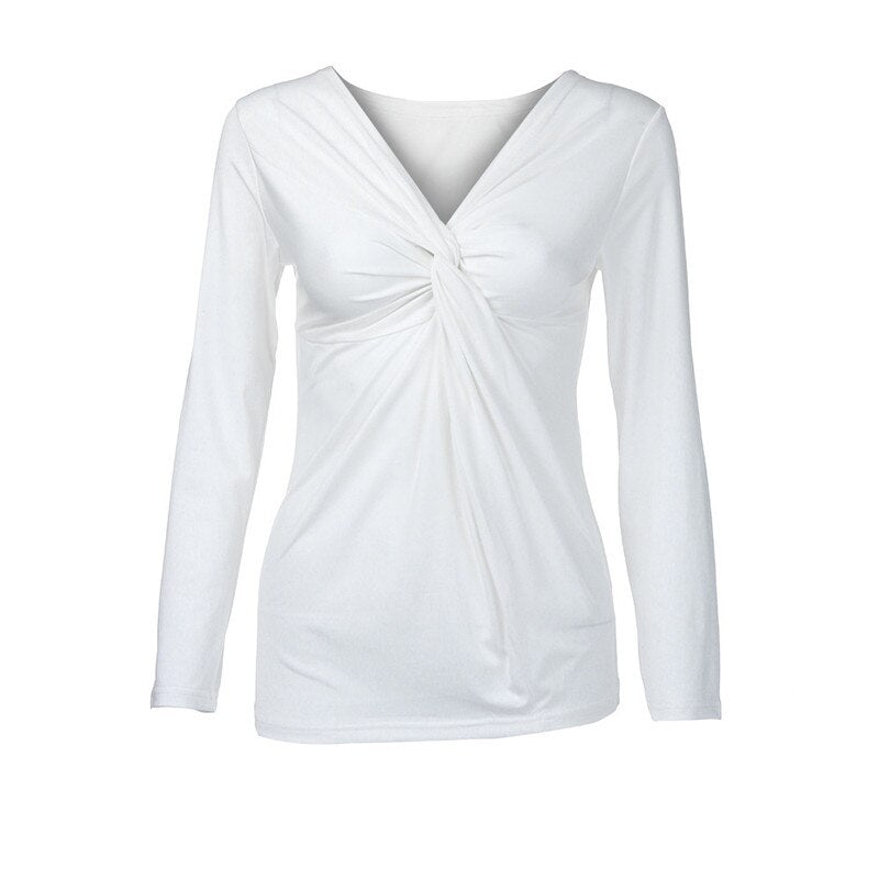 Fashion V-Neck Ruched Shirt Long Sleeve Solid Color Shirt