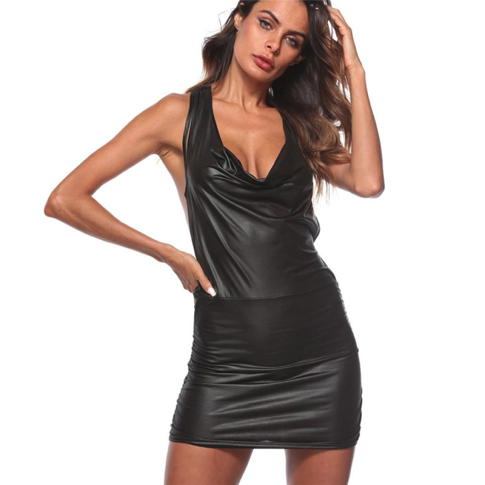 Sexy Women Backless Synthetic Leather Bodycon Dress