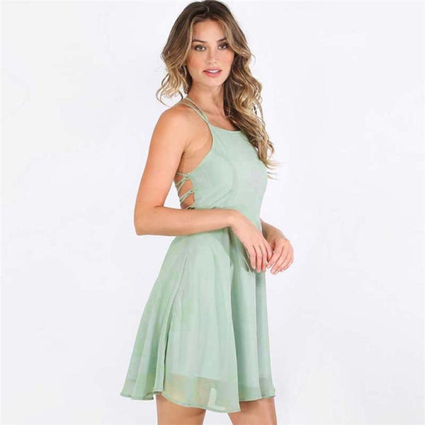 Women Summer Polyester Regular Solid Sleeveless Dress