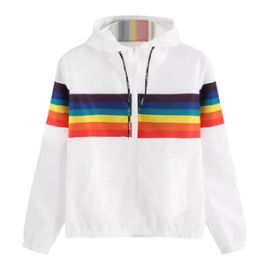 Women Full Long Sleeve Rainbow Patchwork O Neck Regular Sweatshirt