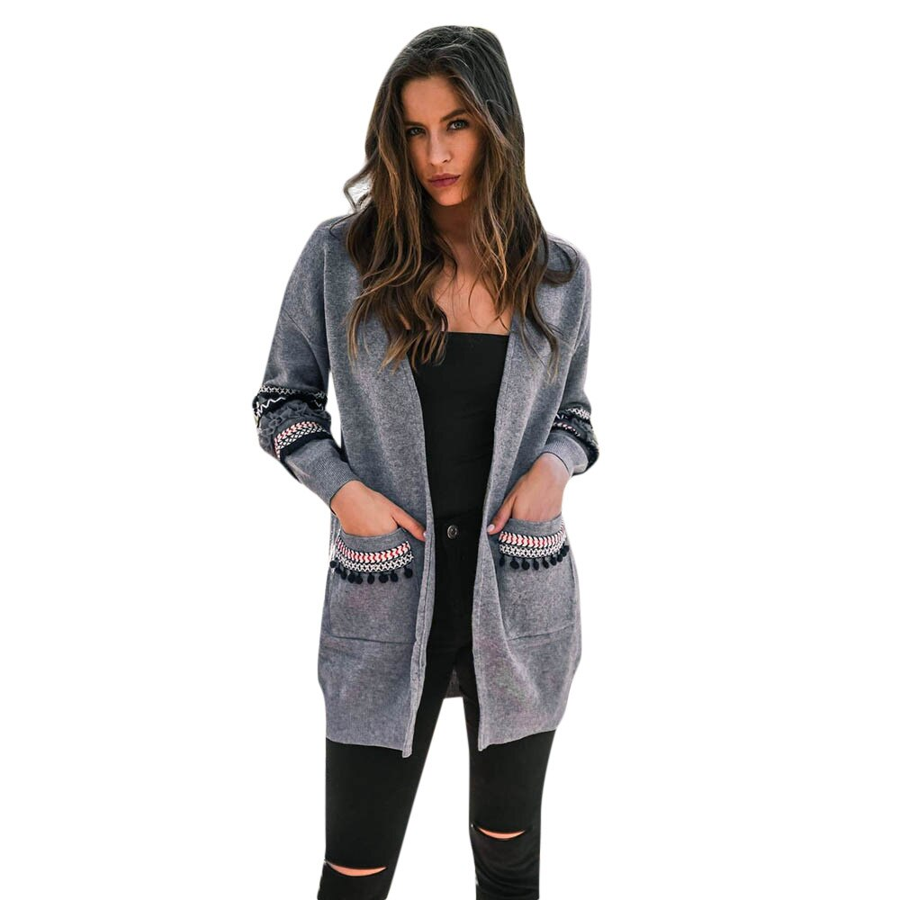 Women Long Sleeve and Pockets Appliques Stitch Cardigan Top