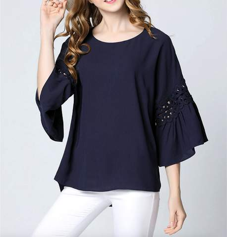 Womens Casual Navy Ruffle Sleeve Top