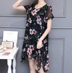 Women Uneven Short Sleeve Floral Dress