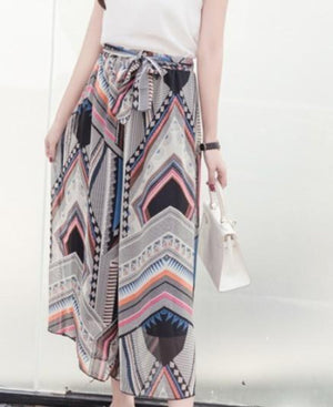 Pattern Flowy Wide Leg Pants