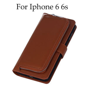 2 in 1 Leather Flip Waller Card Holder Case For iPhone and Samsung Galaxy