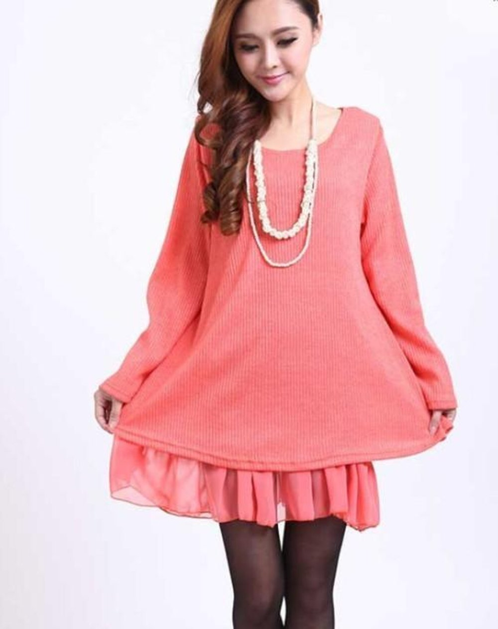 Pink Layered Tunic Sweater Dress with Frill Trim