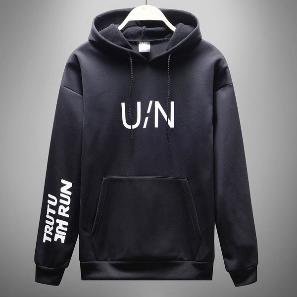 Men's Casual Letter Printed Front Pocket Autumn Long Sleeved Hoodie