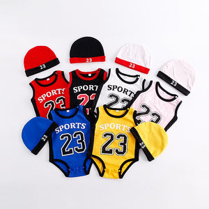 Newborn Baby Number 23 Basketball Clothes Kids Jumpsuits Boy Cotton Sport Rompers with Hat Summer Sleeveless Climbing Clothing