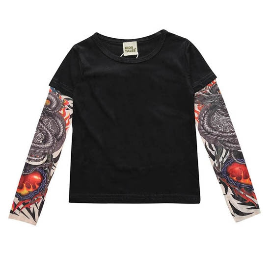 Novelty Tattoo Long Sleeve Children T-Shirts Cotton Boys T Shirt Kids TShirt