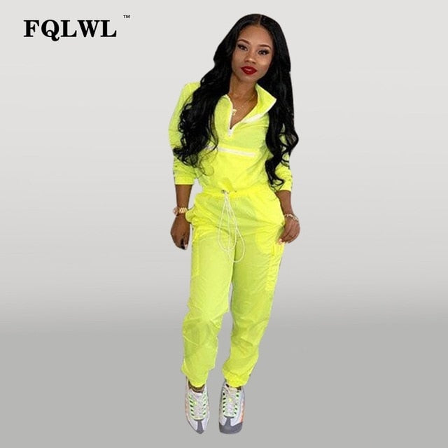 FQLWL 2 Piece Set Women Pink Outfits Zipper Long Sleeve Two Piece Set Crop Top and Pants Suit