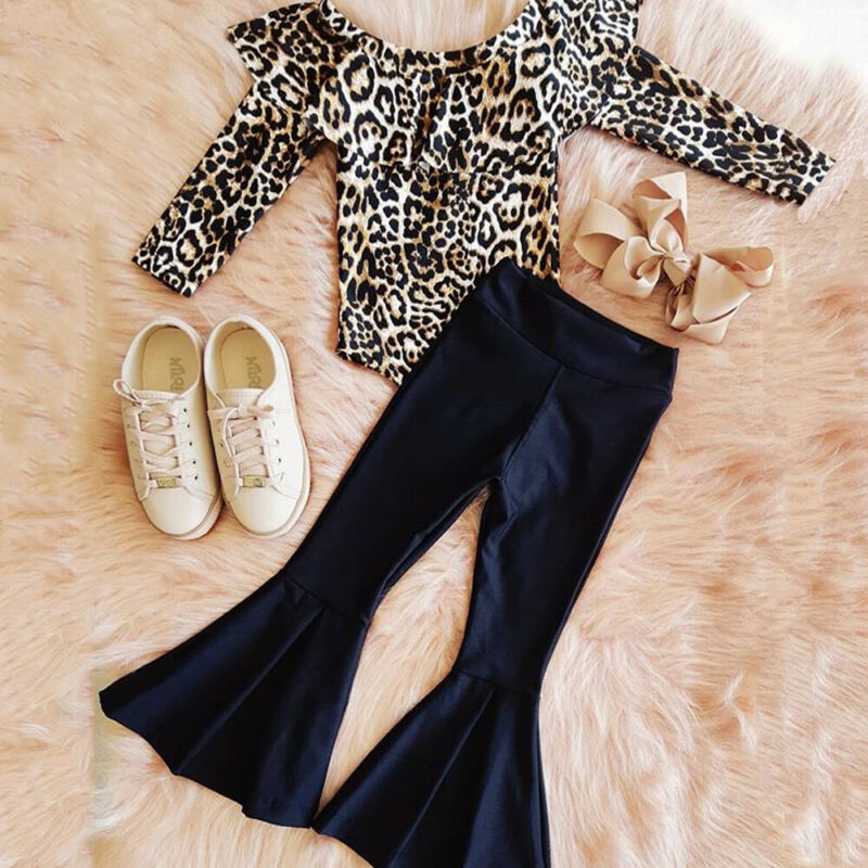 Autumn Winter Clothes Toddler Kids Baby Girl Clothes  Leopard Romper Tops Long Pants Outfit Clothes Set 2pcs