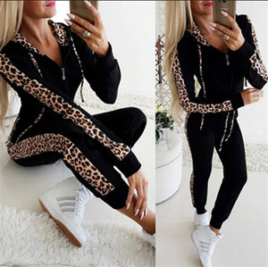 Autumn Winter Fashion Tracksuit Women Splice Fleece Leopard Print Coat With Hood Two Pieces Set Hoodies Long Pants Suit