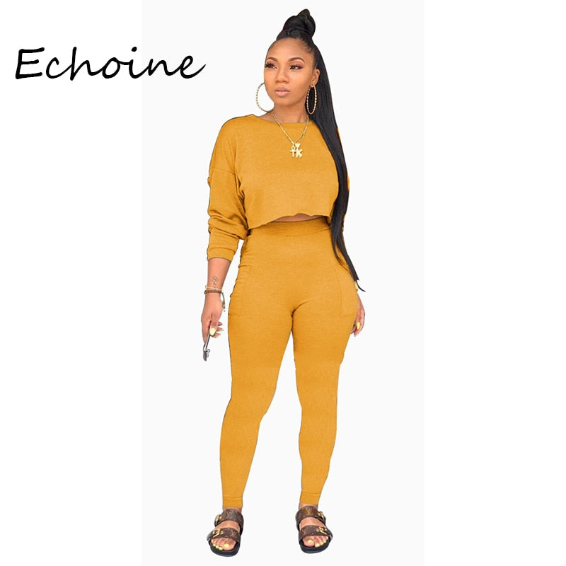 Echoine Autumn O-neck Two Pieces Set Long Sleeve Sweatshirt + Pant Suit With Pocket Tracksuit Women Solid 5 Color Plus Size 2XL