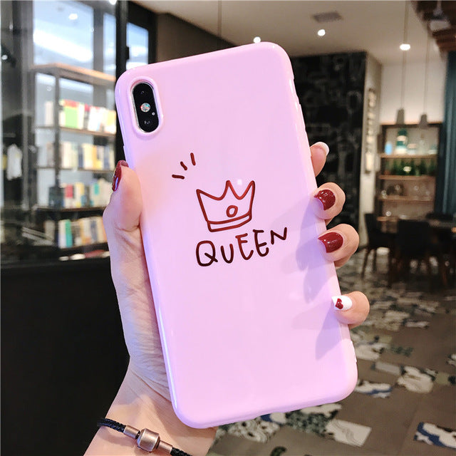 USLION Cartoon Crown Phone Case For iPhone 6 6s 7 8 Plus Soft TPU Cases For iPhone 11 Pro Max XR XS Max Letter King Queen Cover