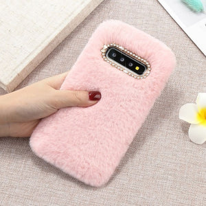 LCHULLE Cute Warm Furry Fluffy Case for Samsung S8 S9 S10 S7 Edge S10e Note10 Plus Soft Fur Plush Phone Back Cover Coque Capas